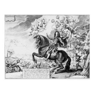 Postal Retrato ecuestre de Charles II con dioses