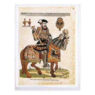 Postal Retrato ecuestre de Charles V en armadura