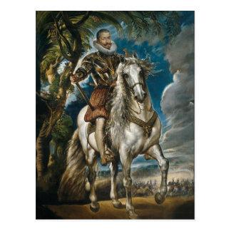 Postal Retrato ecuestre del duque de Lerma - Rubens