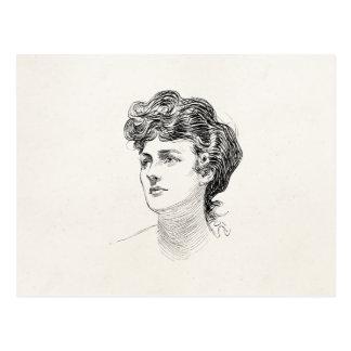 Postal Retrato retro de la mujer de Edwardian del chica