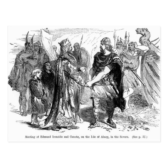 Postal Reunión de Edmund Ironside y de Canute
