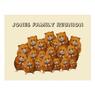 Postal Reunión de familia, muchedumbre de Hamters lindo,