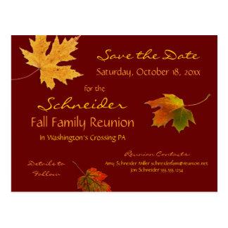 Postal Reunión de las hojas de otoño, fiesta, reserva del