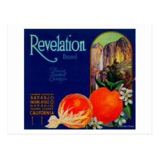Postal Revelación LabelNaranjo anaranjado, CA