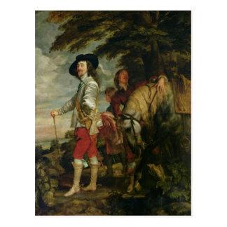 Postal Rey Charles I de Inglaterra hacia fuera que caza,
