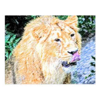 Postal rey incompleto del león