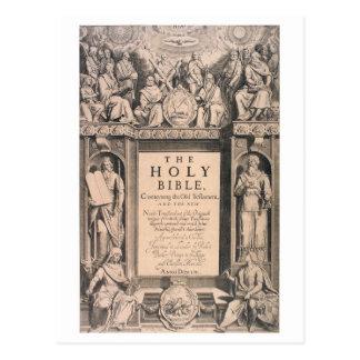 Postal Rey James Bible de la página de cubierta de la