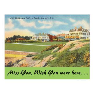 Postal Rhode Island, paseo del acantilado, Newport