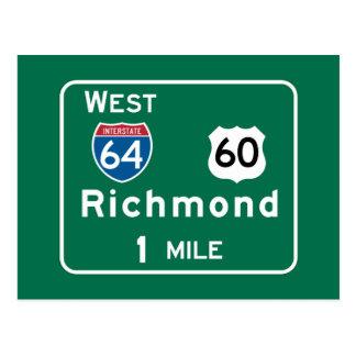 Postal Richmond, señal de tráfico del VA