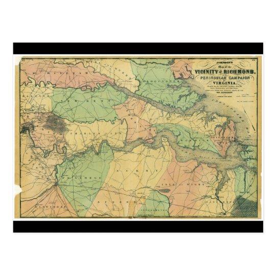 Postal Richmond y campaña peninsular en Virginia 1864