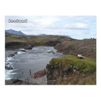 Postal Río de Flókadalsá, cerca de Borgarnes, Islandia