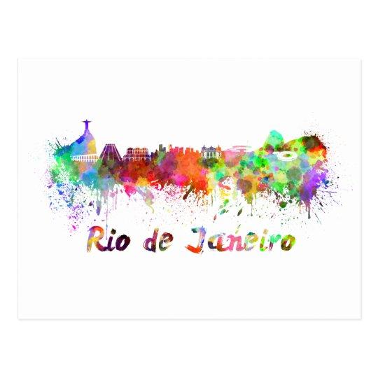 Postal Rio de Janeiro skyline in watercolor