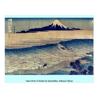 Postal Río de Tama en Bushu por Katsushika, Hokusai