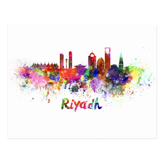 Postal Riyadh skyline in watercolor