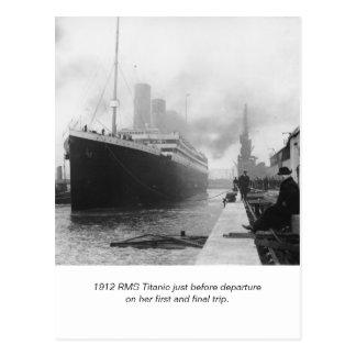 Postal RMS titánico antes de salida y de poema