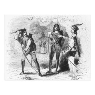 Postal Robin Hood, escarlata y Juan