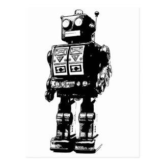 Postal Robot blanco y negro del vintage