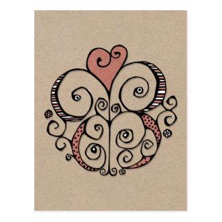 Postal roja de Kraft del adorno del corazón