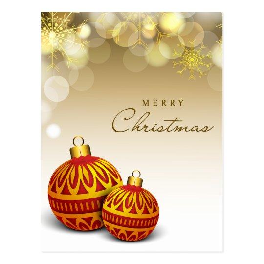 Postal roja de la bola de las Felices Navidad