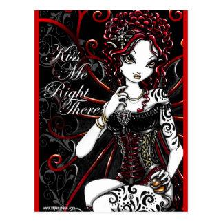 Postal roja de la hada del tatuaje del corsé de Sa