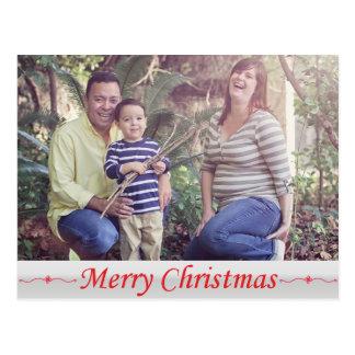 Postal roja de las letras de las Felices Navidad