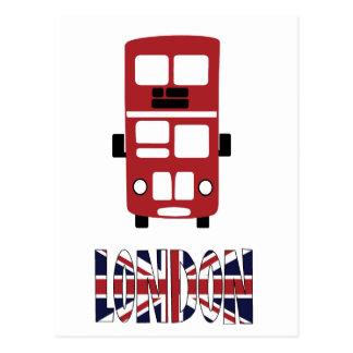 Postal roja de Londres del autobús del autobús de