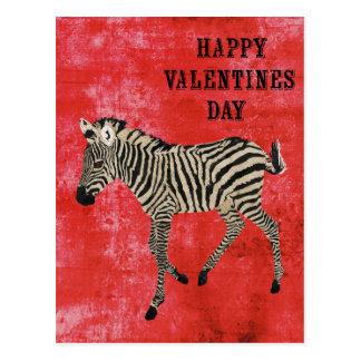 Postal roja del día de San Valentín de la cebra