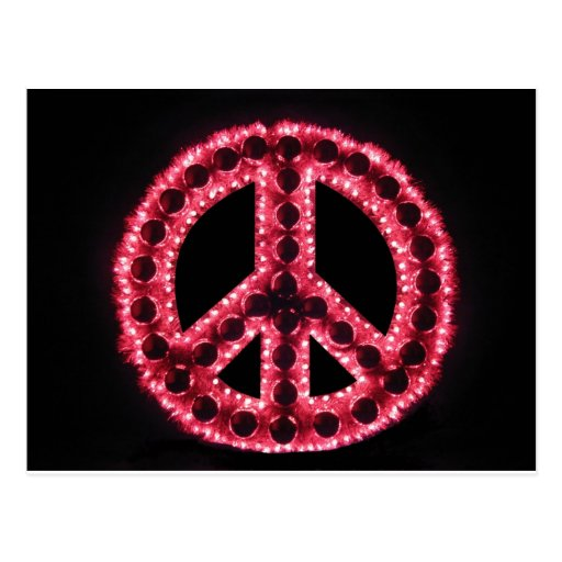postal roja del signo de la paz