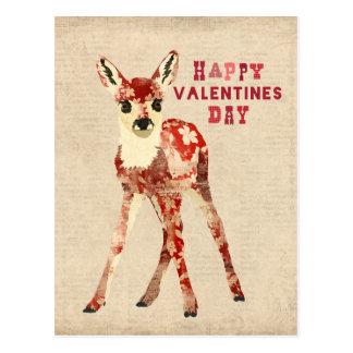 Postal roja floral del día de San Valentín del cer