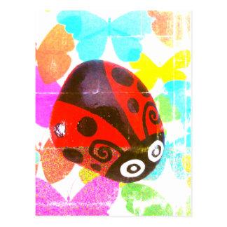 Postal roja multidimensional de la mariquita