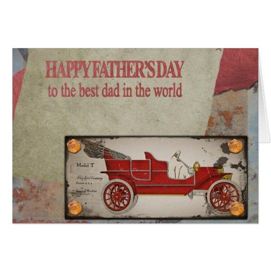 Postal roja vieja feliz del coche del día de padre