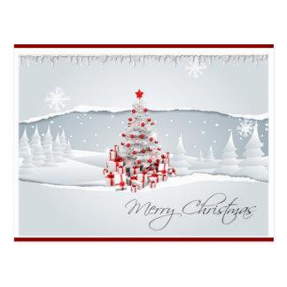 Postal roja y blanca moderna del navidad del día