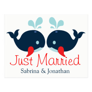 Postal Rojo náutico apenas casado casando ballenas de