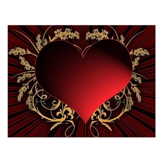 Postal Rojo y diseño del corazón del oro