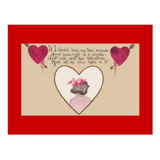 Postal romántica de los corazones del verso del el