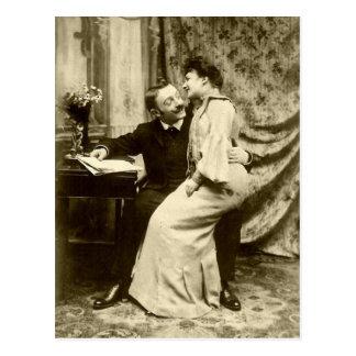 Postal romántica de los pares de Edwardian del