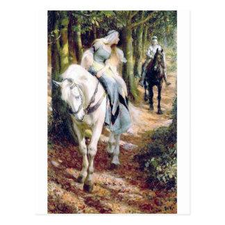 Postal Romántico medieval del caballo blanco de la señora