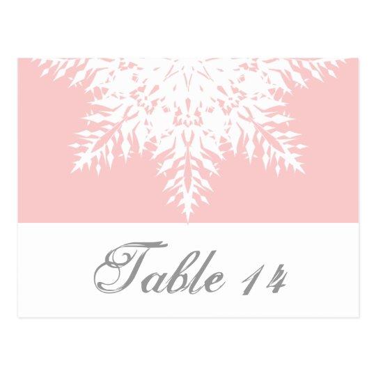 Postal Rosa del copo de nieve, número blanco de la tabla