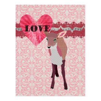 Postal rosada bonita del damasco del amor del cerv