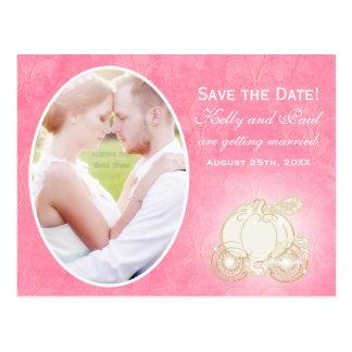 Postal rosada de la foto del boda del carro de