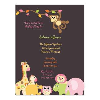 Postal rosada de la invitación del cumpleaños del