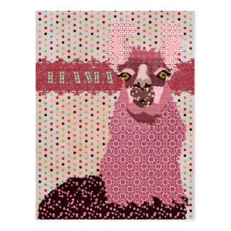 Postal rosada de Pokadot de la llama