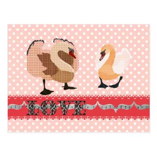 Postal rosada del amor de Pokadot de los cisnes