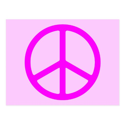 Postal rosada flaca del signo de la paz