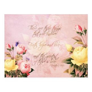 Postal Rosas de la esperanza y del amor de la fe