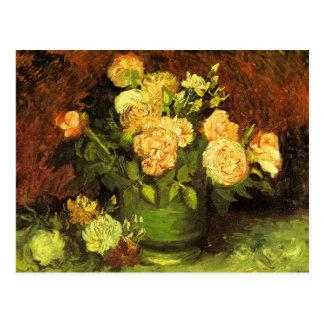 Postal Rosas de Vincent van Gogh