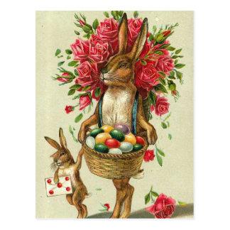 Postal Rosas del conejito de pascua y conejito magníficos