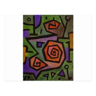 Postal Rosas heroicos de Paul Klee