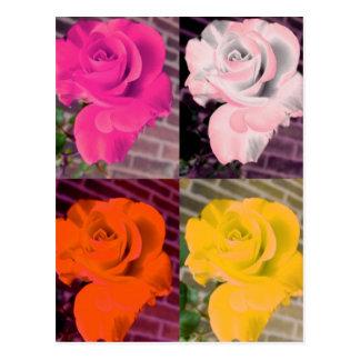 Postal Rosas repetidos femeninos del arco iris multi