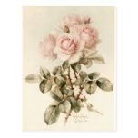 Postal Rosas románticos del Victorian del vintage